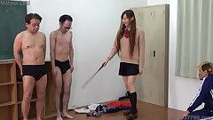 Cute Japanese in Mini Skirt Dominates Sadistic Men