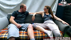 German real couple try porn with smallish tits girlfriend