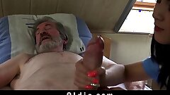 Teen nurse Nymph Dee fuck treatment for sick old patient