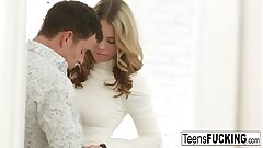 Busty blonde teenager seduces him in a white dress