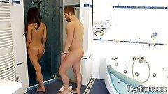 teen Angie Moon bathroom assfuck
