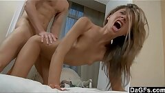 Perfect petite teen gets hard ride by a huge man-meat