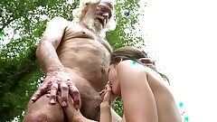 70 year old grandpa fucks Legal year old woman squeals with pleasure and guzzles