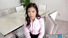 PropertySex - Hot petite Japanese real estate agent fucks her boss