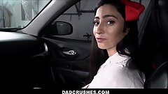 Hot Latina Teen Step Daughter-in-law With Braces Jasmine Vega Fucked By Step Daddy In Back Seat Of His Car After She Is Caught Shoplifting Underpants