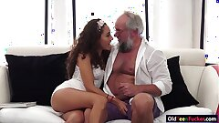 Brazilian Melody Petite crave for an old cock in mouth and pussy