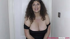Brunette mature Gilly demonstrating tits and oiling them up nicely