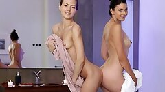 Romantic Lesbian Love Making Session With Tiny Tina & her Petite Brown-haired Girlfriend