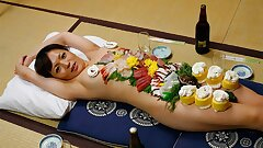 Japanese female Asuka Ayanami is a food plate, uncensored