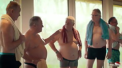 Old vs young gangbang - teen gets pounded by a lot of grandpas